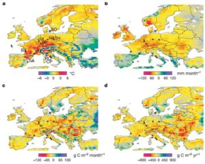 European-wide anomalies of climate and net primary productivity (NPP) during 2003. All data compare 2003 and the average of 1998–2002. (a) Changes in July–September air temperature. (b) Changes in annual precipitation. (c) Simulated changes in July–September NPP. (d) Simulated changes in annual mean NPP.